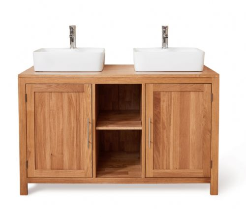 Mobel Oak Bathroom Square Dual Sink Unit with Two Doors